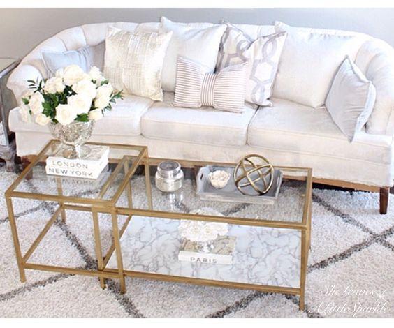 Most Popular Coffee Tables - SheLeavesALittleSparkle.  DIY IKEA hack vittsjö nesting tables. Gold marble glass coffee table. Restoration Hardware Baluster Salvaged Wood Coffee Table.