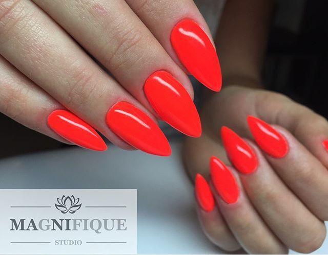 Neon Red Nails Indigonails Magnifiquenails Chicknails