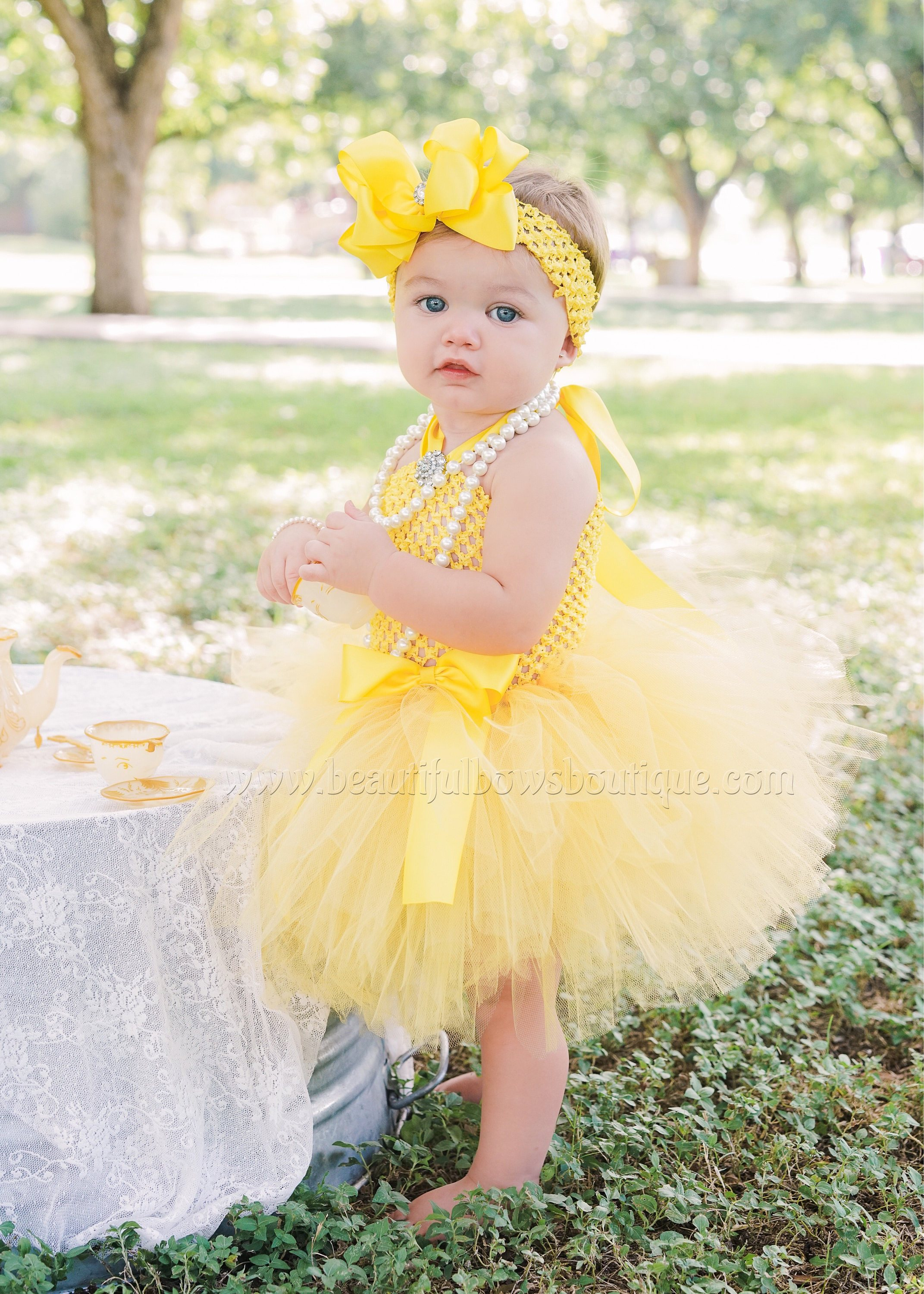 Girls Headband Toddlers Yellow and Pink Beauty /&The Beast //Belle Babies