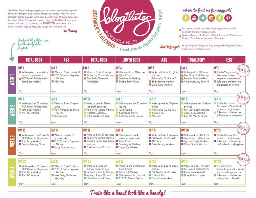 Blogilates Calendar Redesign Pop Pilates For Beginners Calendar