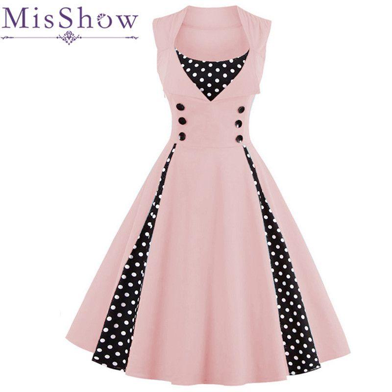MisShow 2017 Plus Size Summer Women Red Dot Vintage Dress Audrey