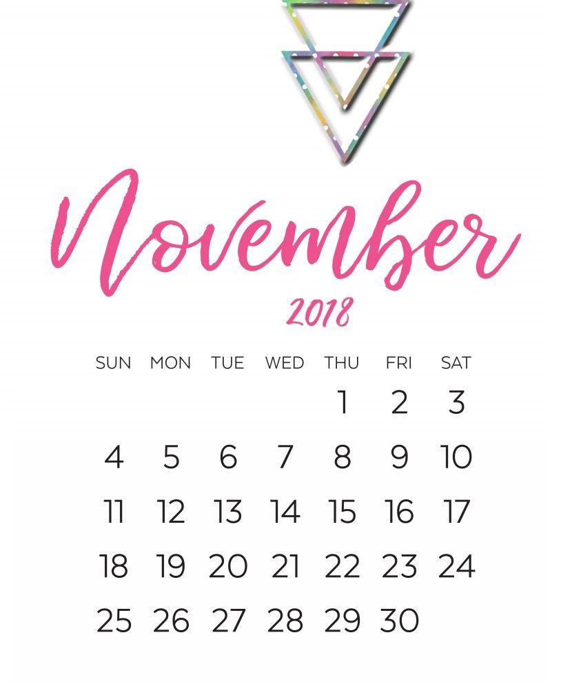 November 2018 Printable Calendar Cute Design November 2018