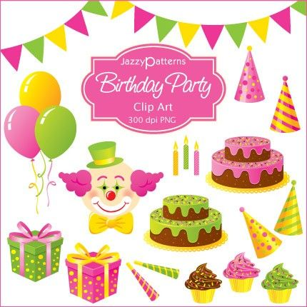 Birthday Party Clipart Collection For Card Making By Jazzypatterns