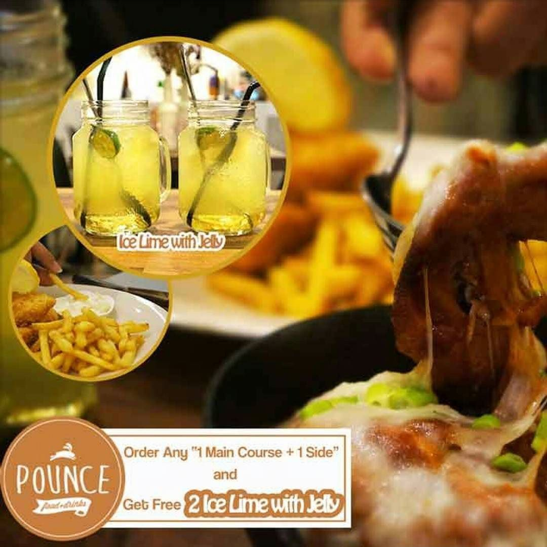 [Pounce Cafe Free 2 Drinks] Order 1 Main 1 Side get 2