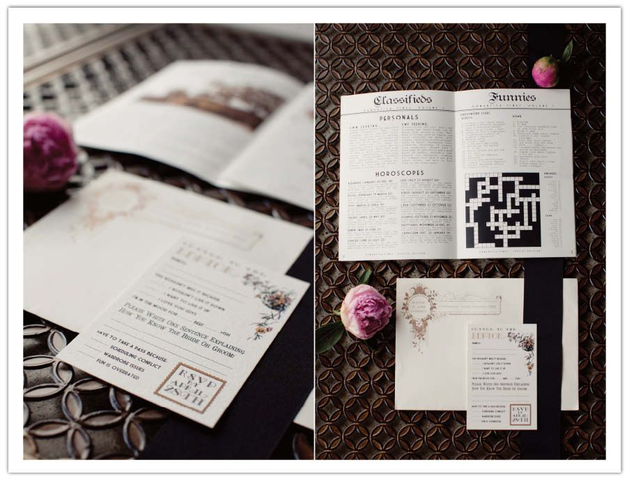 ART DECO NOUVEAU Wedding Invitation Welcome Letter Ideas With Crossword And Fun To Celebration Newspaper Ok It Is