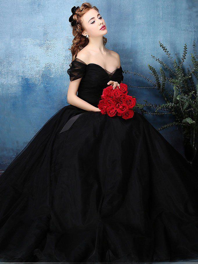 Black Off Shoulder Tulle Ball Gown Formal Dress | Tulle balls, Ball ...