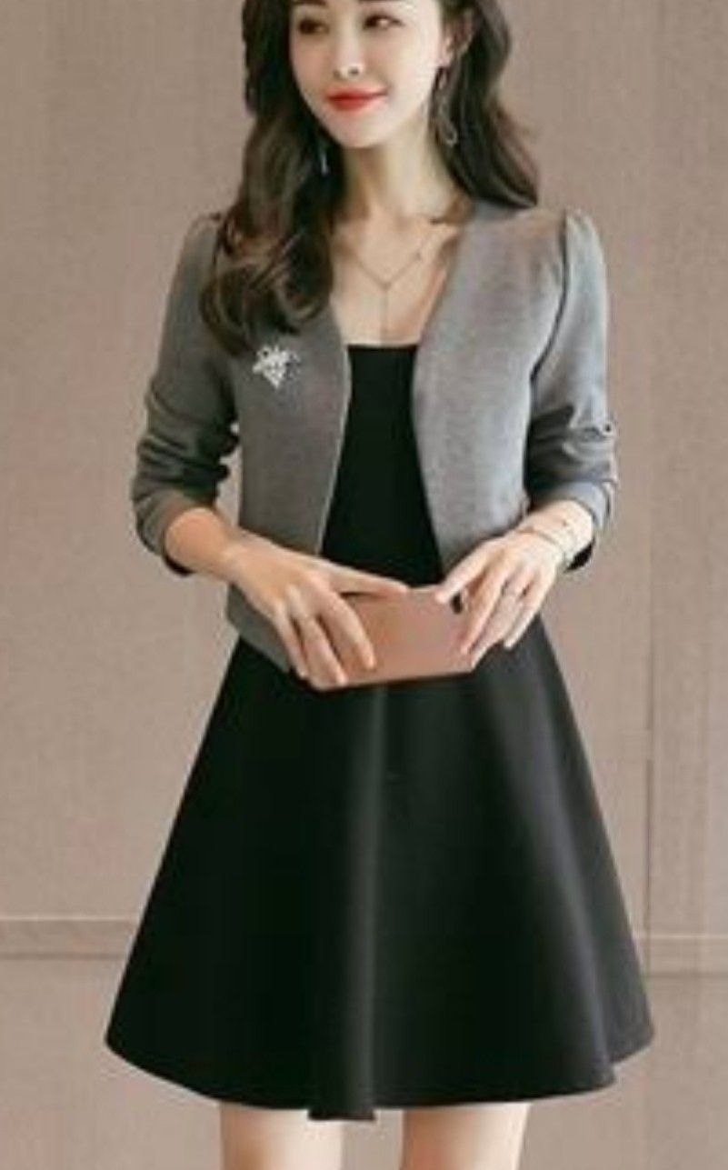 Black Mini A Line Dress With Blazer Dress With Blazer Outfit A Line Dress Blazer Outfits [ 1287 x 801 Pixel ]