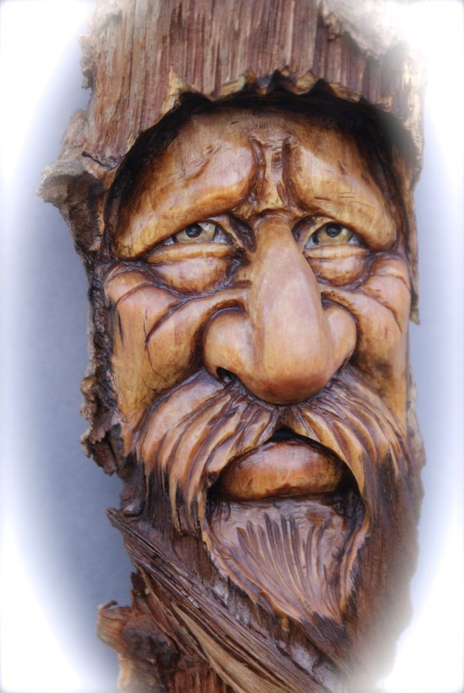 Wood Spirit Carving Hobbit Dwarves Wizard Forest Tree Face
