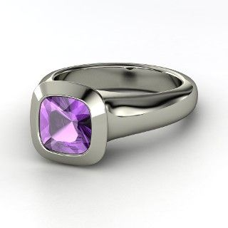 Geneva Ring, Cushion Amethyst 14K White Gold Ring from Gemvara