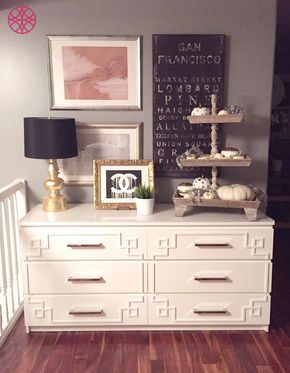 Breath taking DIY decor by Amy Brasler who did this IKEA hack with O'verlays Pippa Kit for IKEA MALM! From the dresser to decor and wall color, this project really shines!