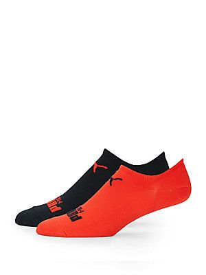 PUMA No-Show Microfiber Liner Socks/Two-Pack - Medium Red - Size No Si