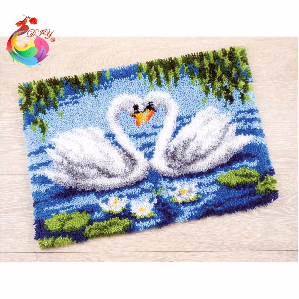 Free Shipping Hook Rug Kit DIY Unfinished Crocheting Yarn Mat ... for Diy Carpet Yarn  545xkb