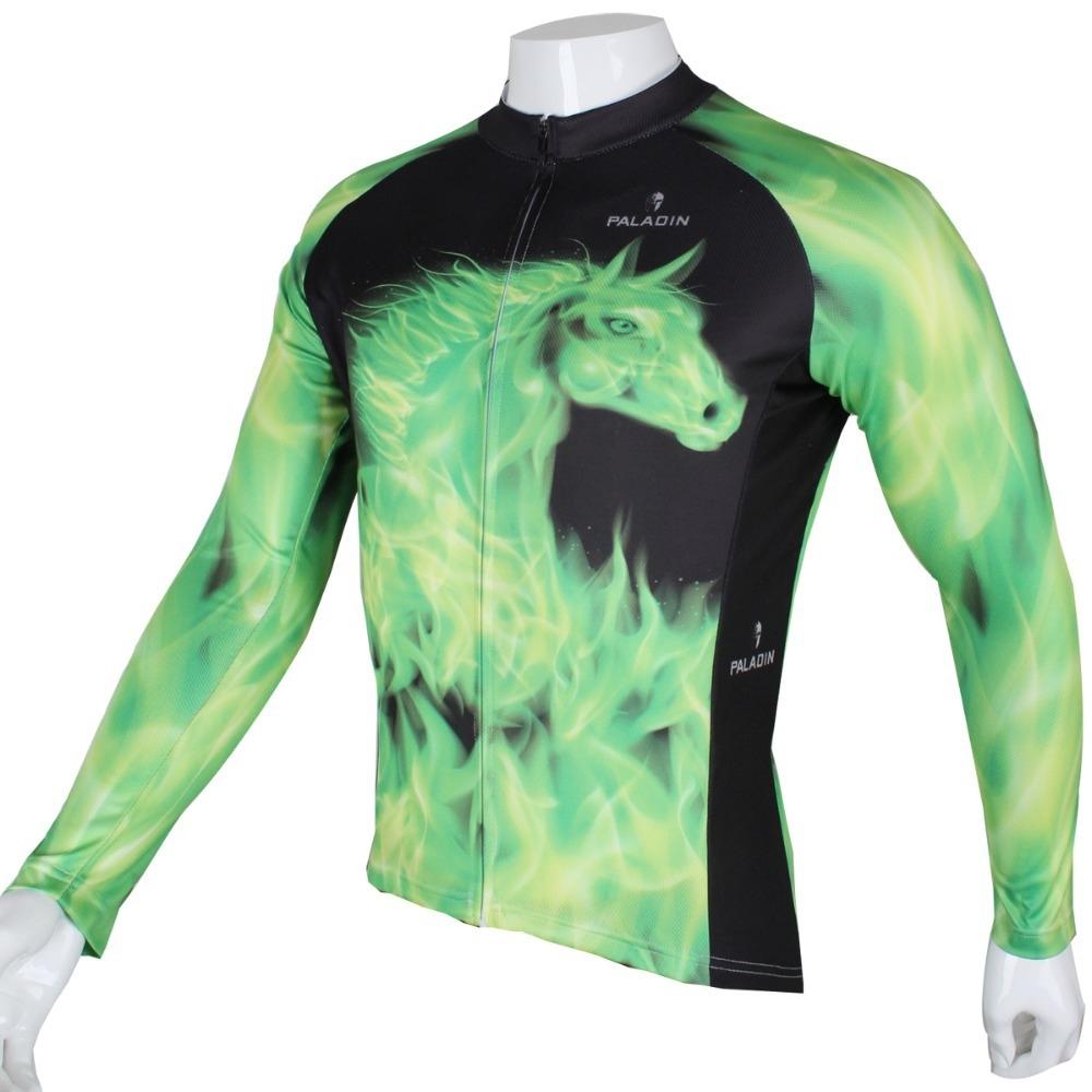"42.24$  Buy here  - ""MARTIN """" Flame green horse """" Mens Long Sleeve Cycling Jersey Bike Shirt Cycling Clothing"""