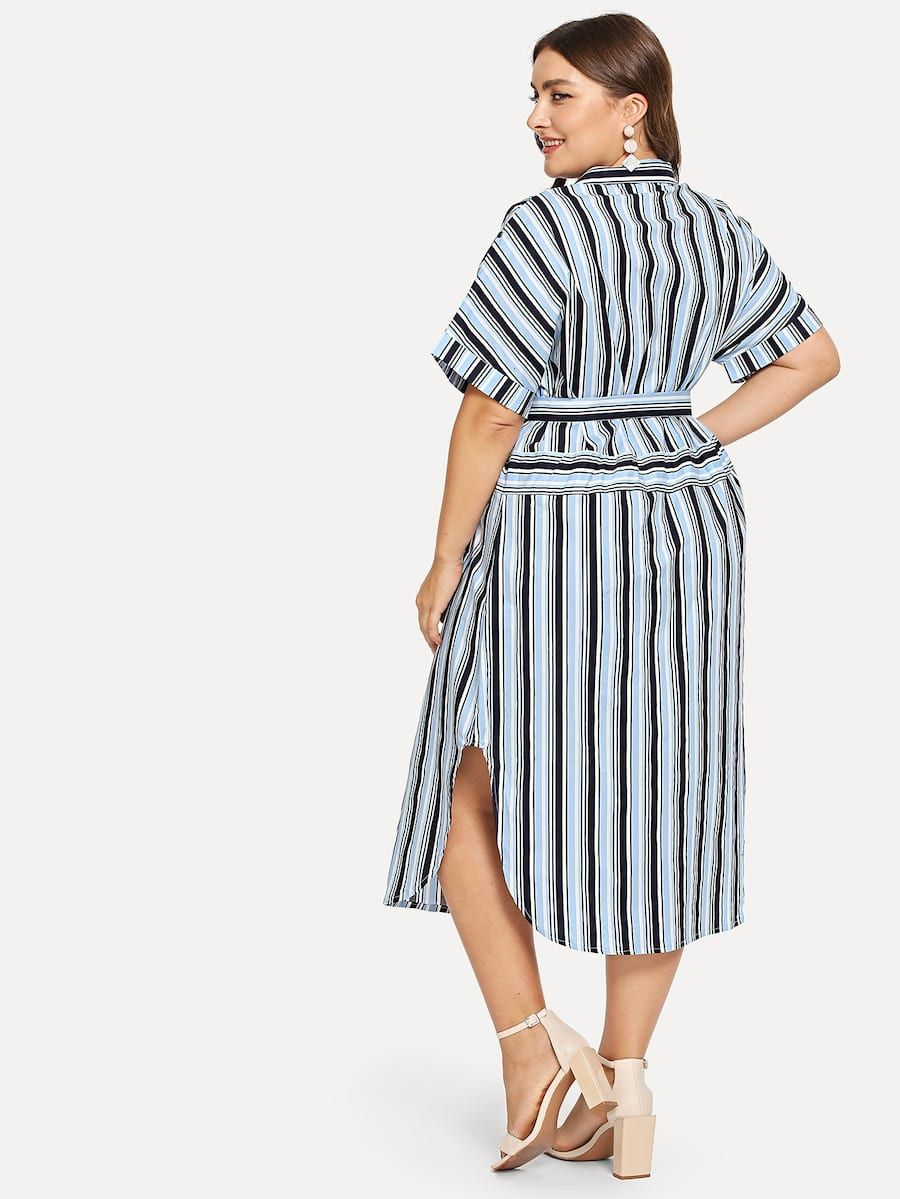 3d3ac470b37 Plus Roll Up Sleeve Pocket Front Striped Dress Neckline  Collar Sleeve  Length  Short Sleeve