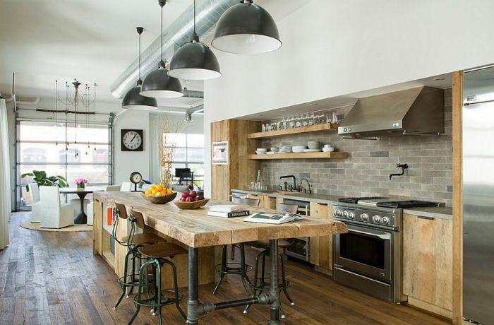 grande cocina con muebles de madera, comedor moderno en nuevo estilo - muebles de pared