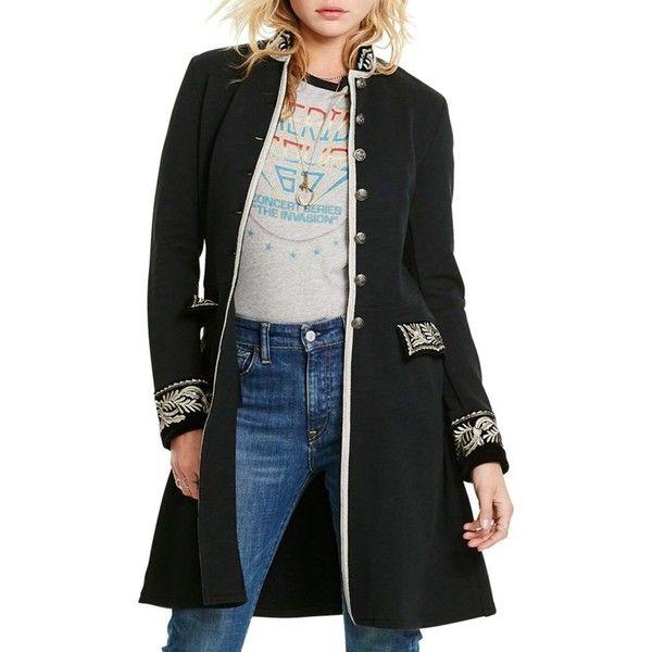 Denim Supply Ralph Lauren Black Embroidered Military Jacket - Women's  ($245) ❤ liked on
