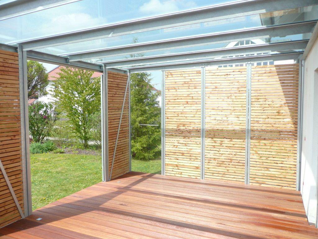 Seitenwande Sitzplatz Glasdach Uberdachung Garten Aussenterasse