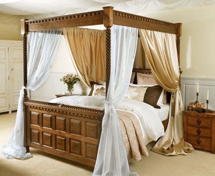 Four poster with satin and voile drape & Four poster with satin and voile drape | Aai Bed room | Pinterest ...