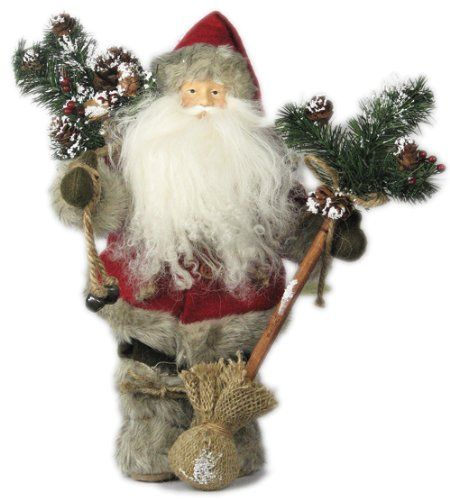 "12"" Woodland Santa Claus W/Tree - Red S01240. #SantaClaus #Santa #Claus #Christmas  #Figurine #Decor #Gift #gosstudio .★ We recommend Gift Shop: http://www.zazzle.com/vintagestylestudio ★"