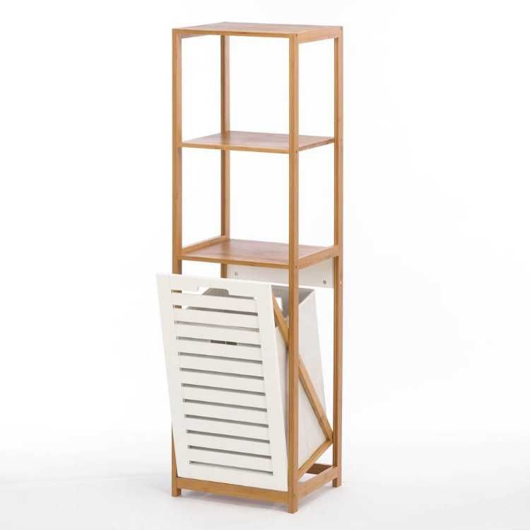 Bamboo Hamper Storage Shelves With Images Bathroom Shelf Decor