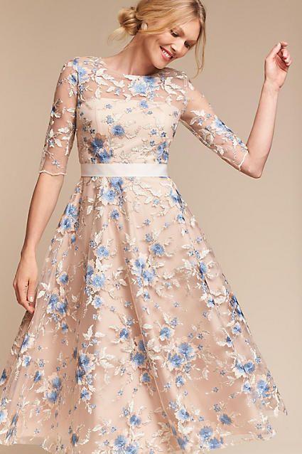 Anthropologie Linden Wedding Guest Dress Fun Lace Floral Pattern
