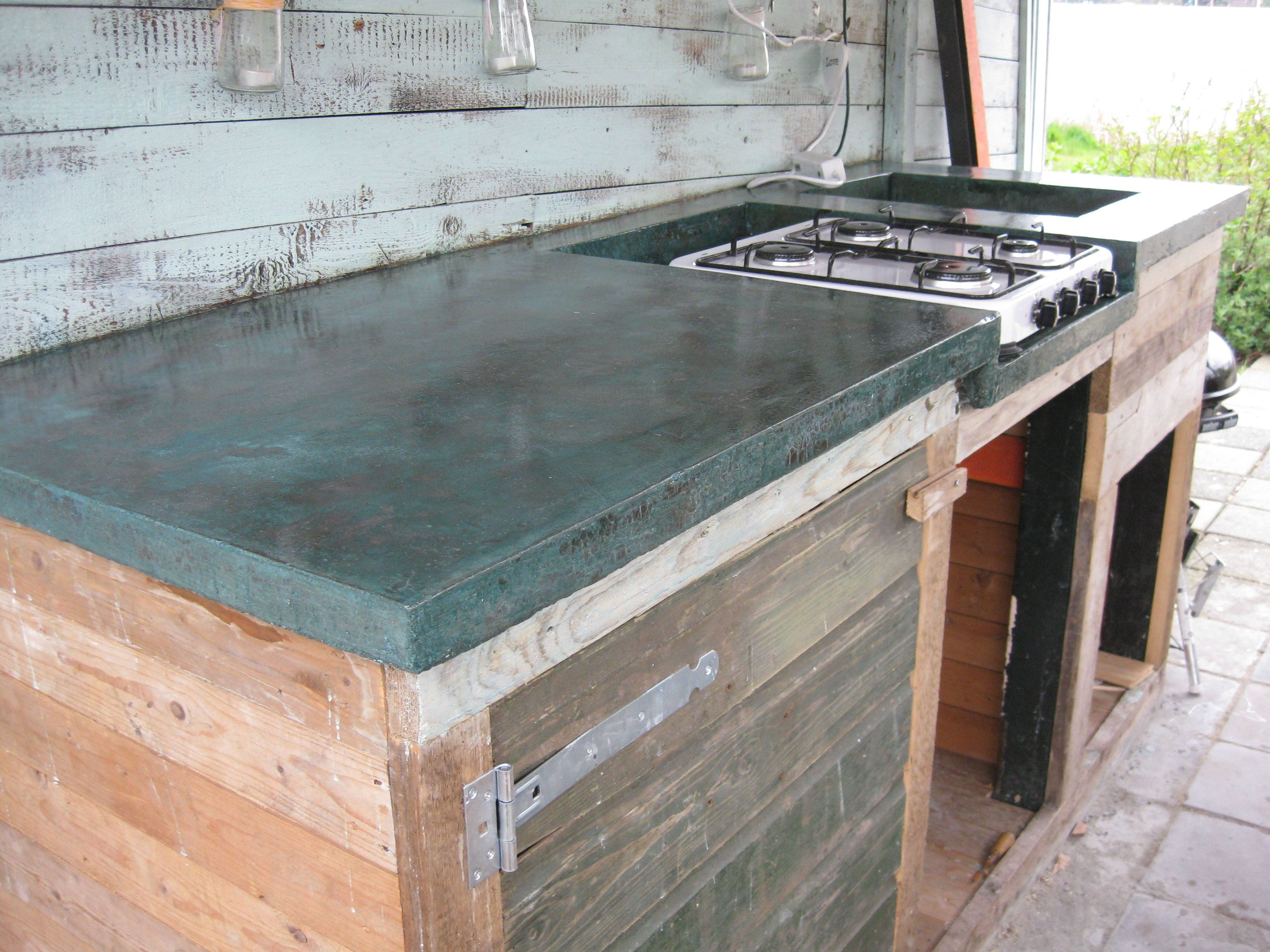 Concrete Copper Sulfate Stained Counter Top And Outdoor