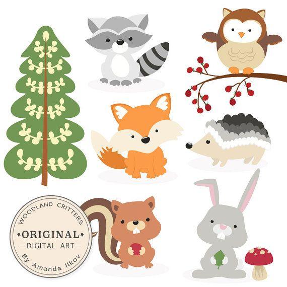 Premium Woodland Animals Clip Art Vectors By Amandailkov Animales Del Bosque Cumpleanos De Animales Manualidades