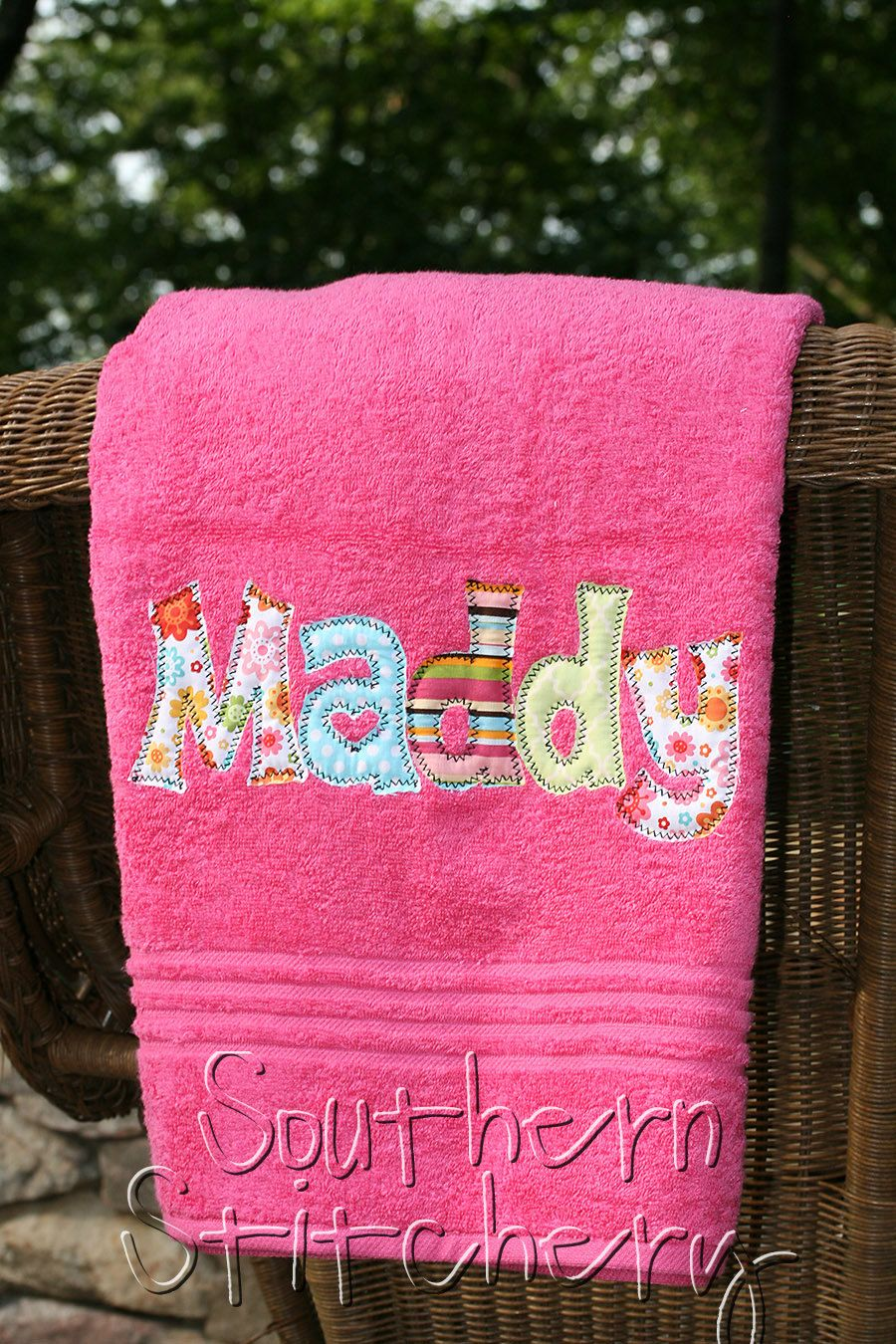 Applique Name Towel Personalized Bath Towel By Southernstitchery
