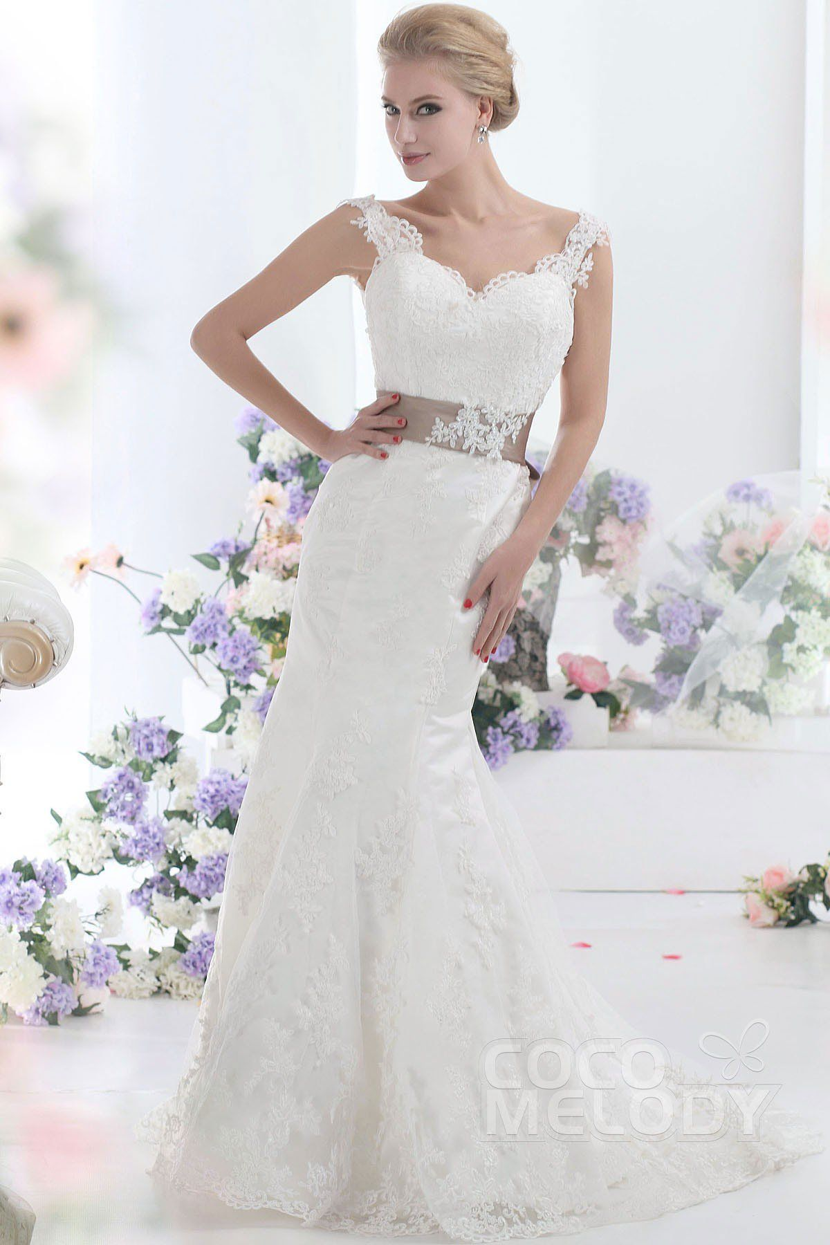 Stylish Trumpet-Mermaid Straps Natural Sweep-Brush Train Tulle and Lace Ivory Sleeveless Open Back Wedding Dress with Appliques Beading and Sashes CWVT13002