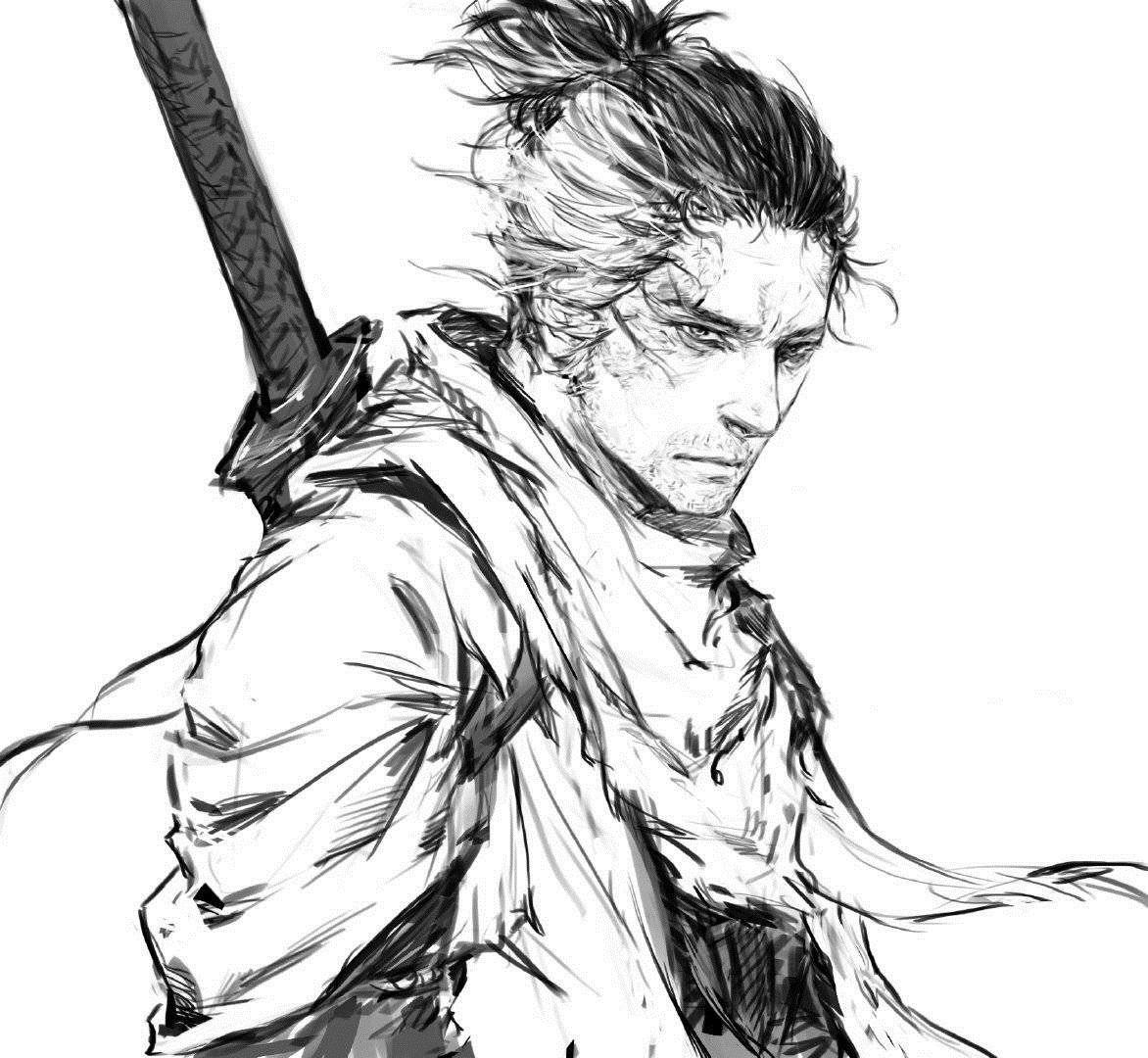 Anime Game Sekiro Shadows Die Twice Character Sekiro Pixiv S Artist 4472508 Samurai Art Samurai Artwork Character Art