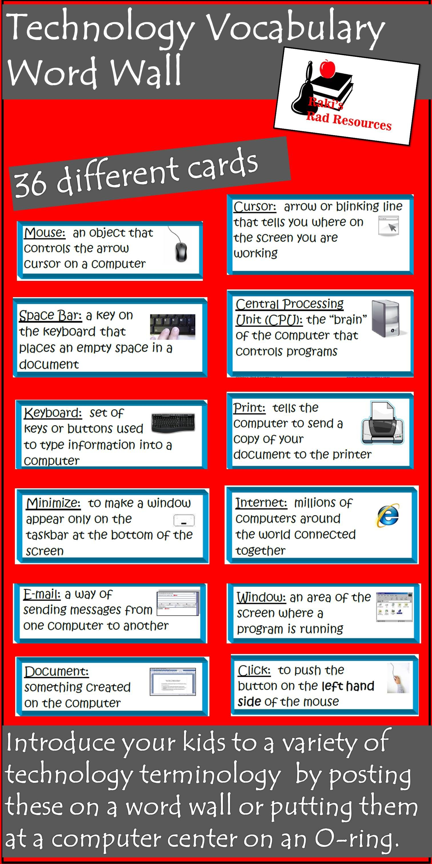 Technology Vocabulary Cards With Images Technology Vocabulary