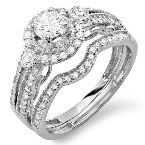 ccf9d58f2 IGI Certified 0.98 Carat (ctw) 14K White Gold Round Cut White Diamond  Ladies Bridal Halo Engagement Ring Set With Matchi, Size: 5