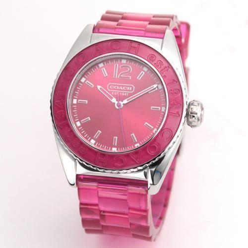 Coach Women's Boyfriend Style Watch 14501419 Andee Hot Pink Jelly Strap Stainless Steel Case Hot Pink Bezel Coach. $129.99