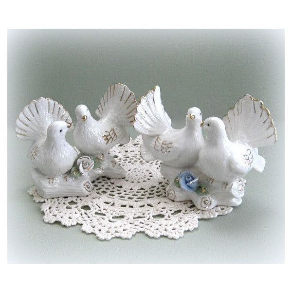 Love Bird Figurine White Dove Decor Cake Topper 6 95 Liked On Polyvore Featuring Vintage