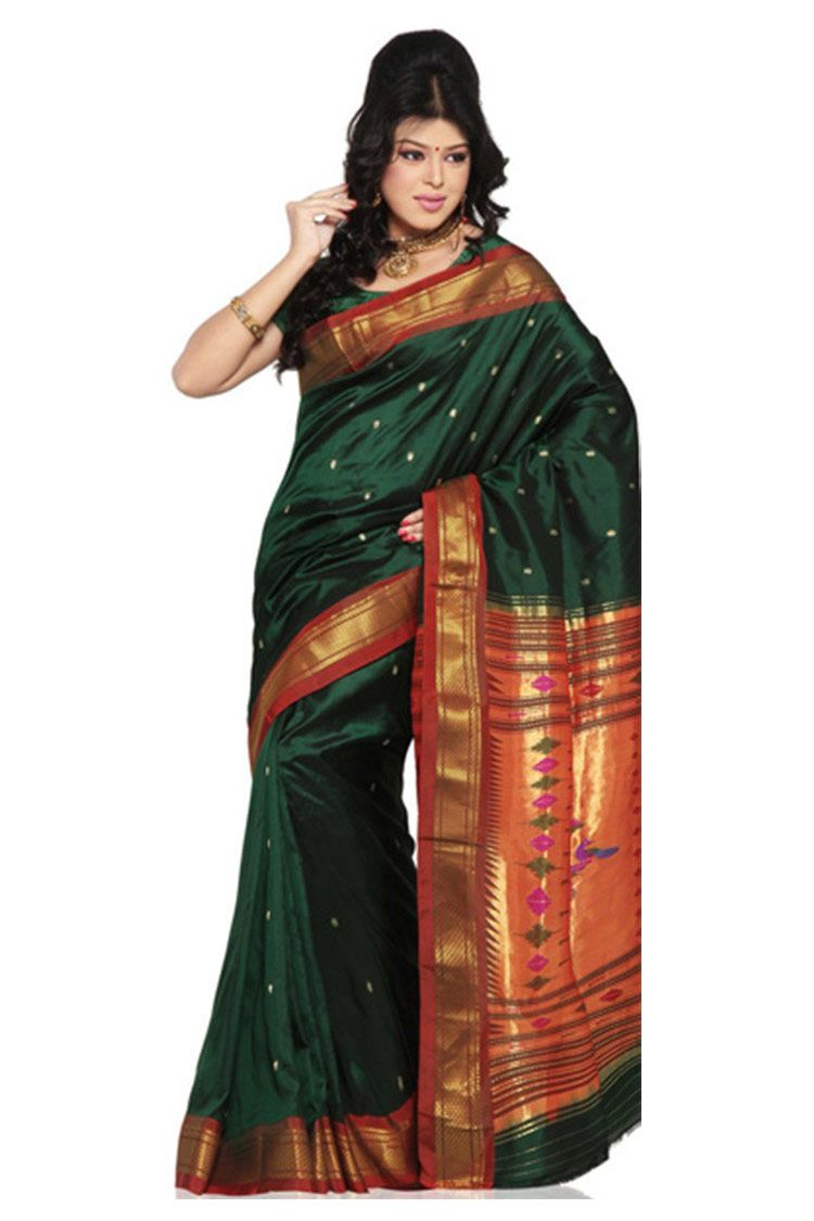 85ef1abcea bottle green Paithani silk saree with red border | Shopping in 2019 ...