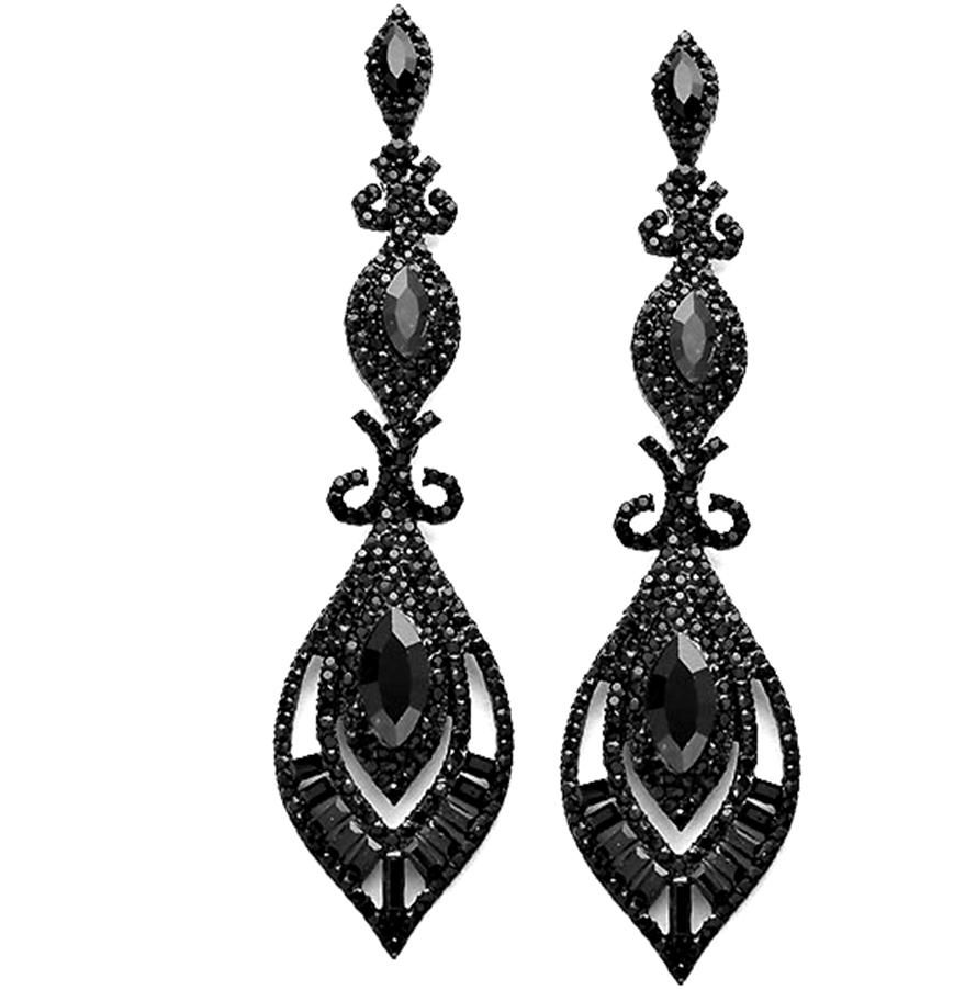 Long jet black crystal earrings 2018 prom pageant jewelry long jet black crystal earrings mozeypictures Image collections