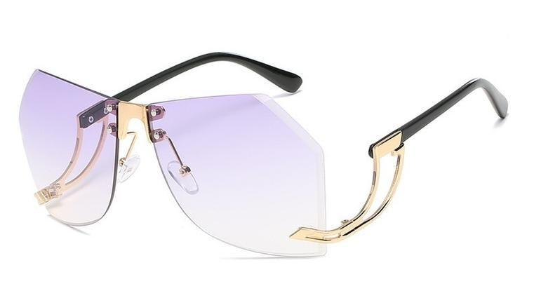 Übergröße Klassischer Retro-Stil Durchsichtige Linse Brillen Rahmenlosen Silber