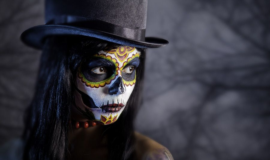 Hispanic Girl Wallpaper 4k Sugar Skull Make Up With A Creole Voodoo Witch Doctor