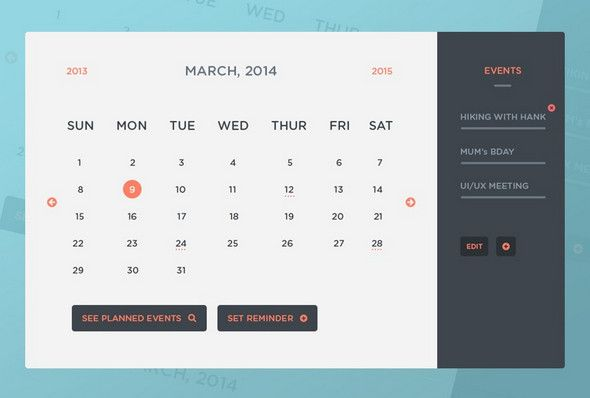 A Clean Collection Of Free Psd Icons Html Calendar Templates For