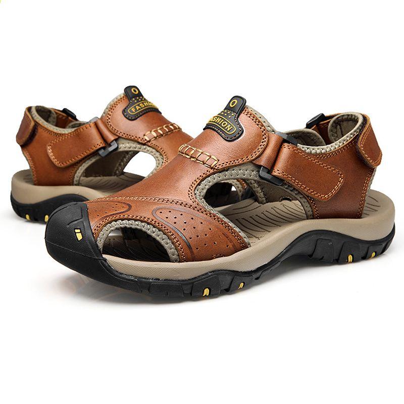 Viihahn Meskie Sandaly Z Prawdziwej Skory Lato 2017 Nowa Plaza Mezczyzni Obuwie Outdoor Sandaly Plus Rozmiar Mens Sandals Casual Mens Casual Shoes Mens Sandals