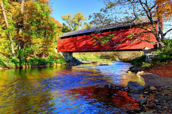 This Day Trip Takes You To 5 Of Massachusetts' Covered Bridges And It's Perfect For A Scenic Drive #coveredbridges