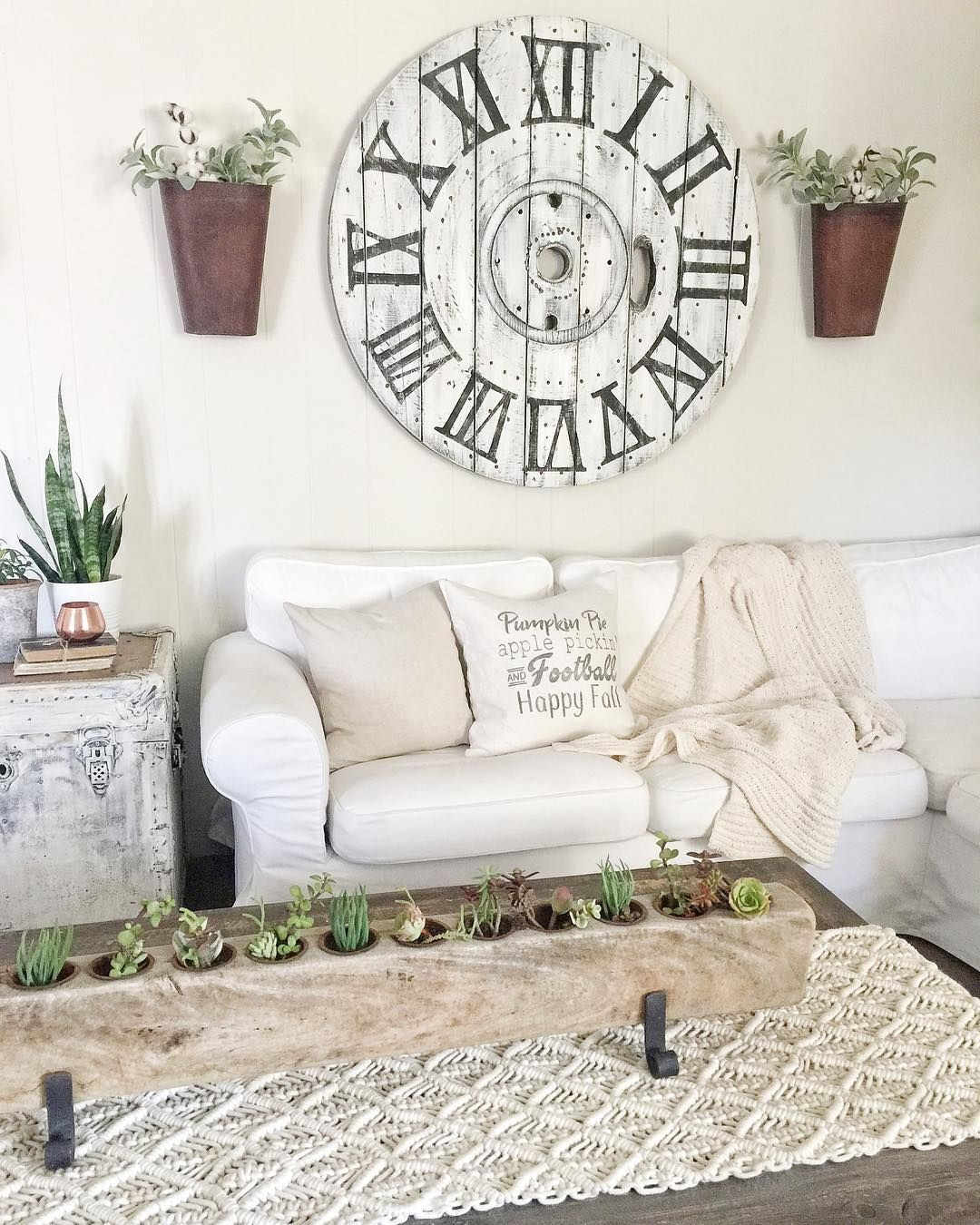 Farmhouse Clock With Wall Planters For Kitchen Wall Farm House