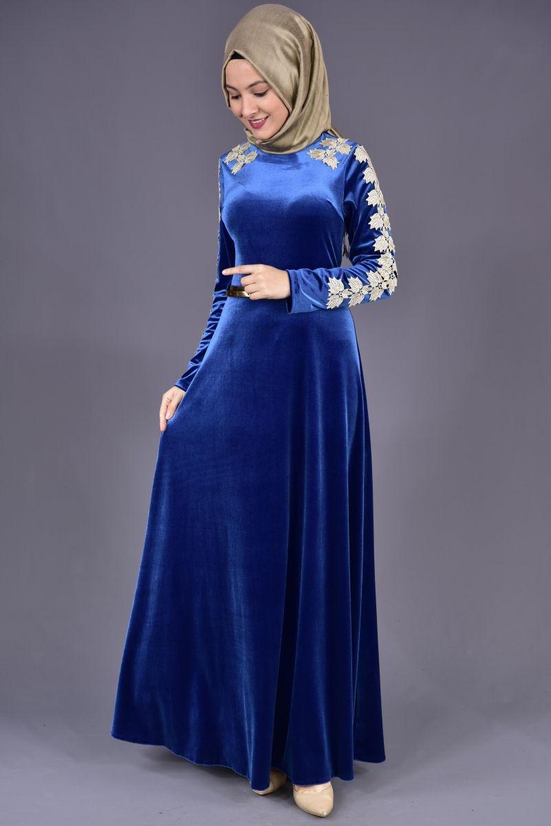 Saks Mavisi Kadife Elbise Elbise Uzun Elbise Elbise Modelleri