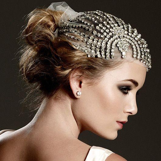 Glamourous Johanna Johnson Gowns Headpiece Wedding Vintage