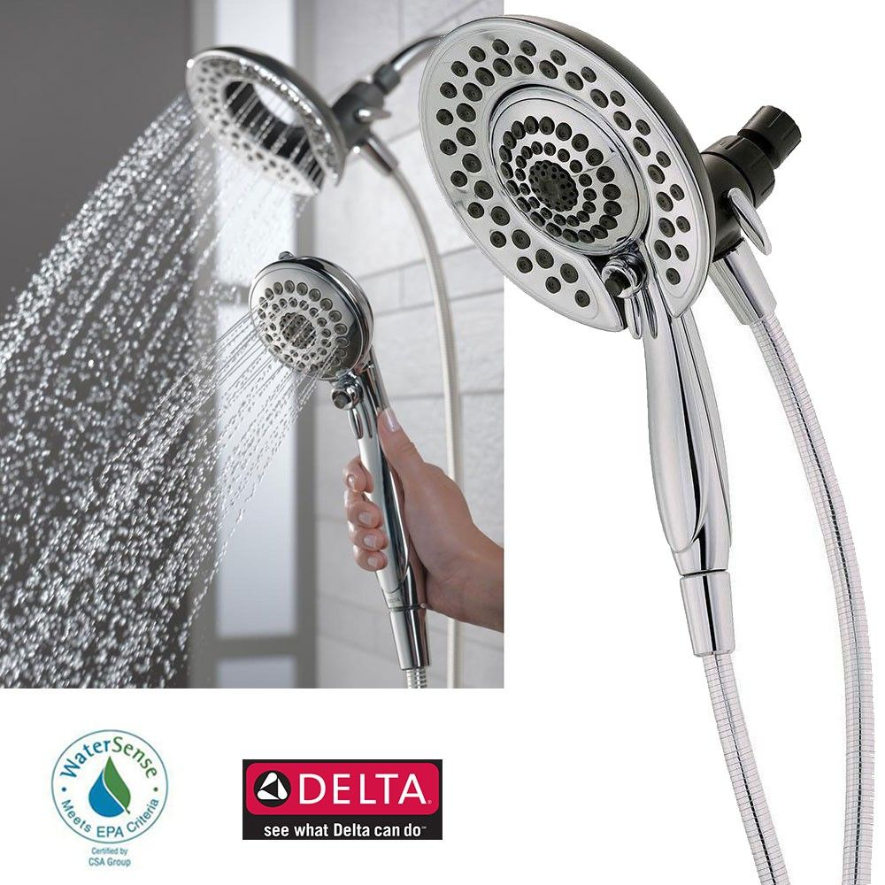 Delta Faucet 75583 In2ition 5 Function Handheld Dual Shower Head 2 In 1 Chrome A Simple And Convenient Way To Upd Dual Shower Heads Shower Heads Dual Shower Delta shower head and faucet