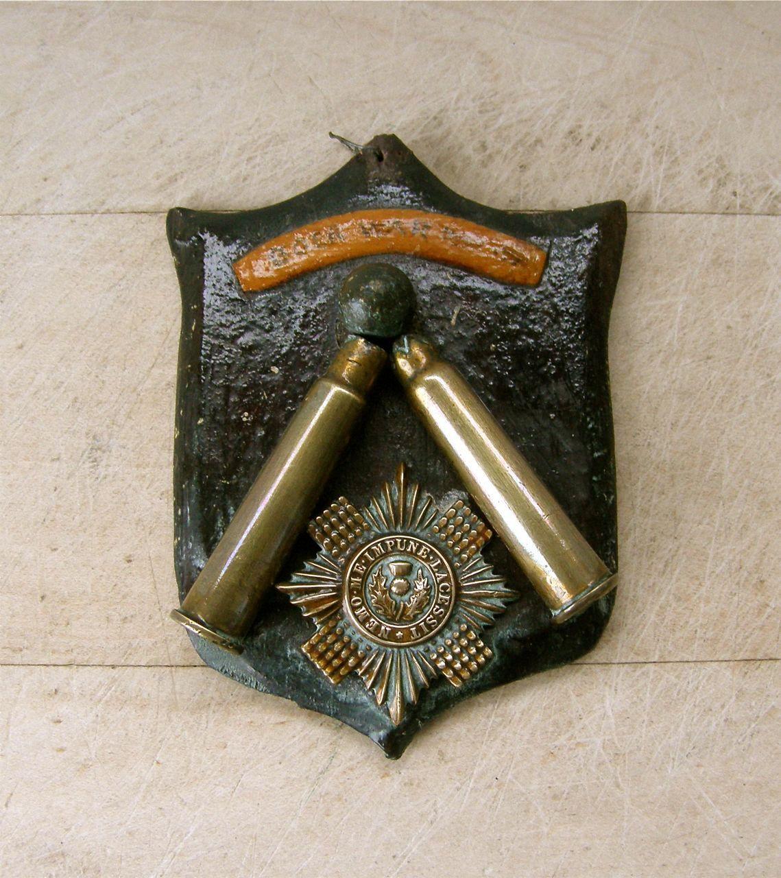 British Boer War Plaque 2 Cartridge Cases Bullet Scots Guards Badge Ooak Military Collectible