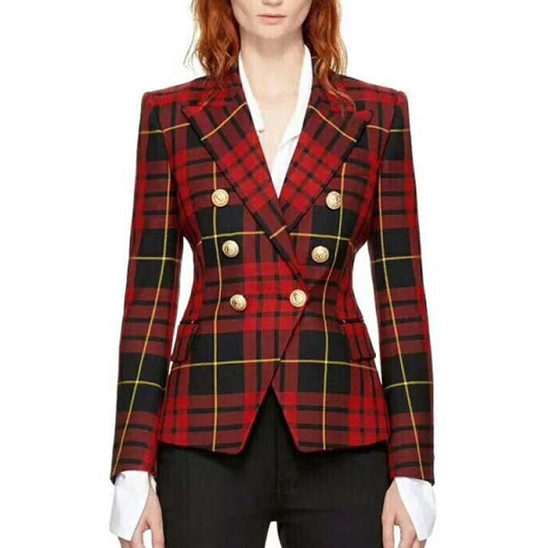 HIGH STREET New Fashion 2018 Baroque Designer Blazer Jacket Women s Metal  Lion Buttons Double Breasted Plaid Blazer 1d60f00bebb