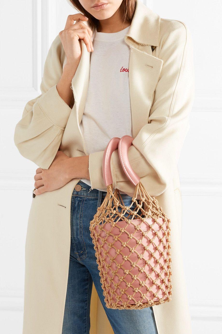 0564e1108 STAUD - Moreau macramé and leather bucket bag | capsule wardrobe ...