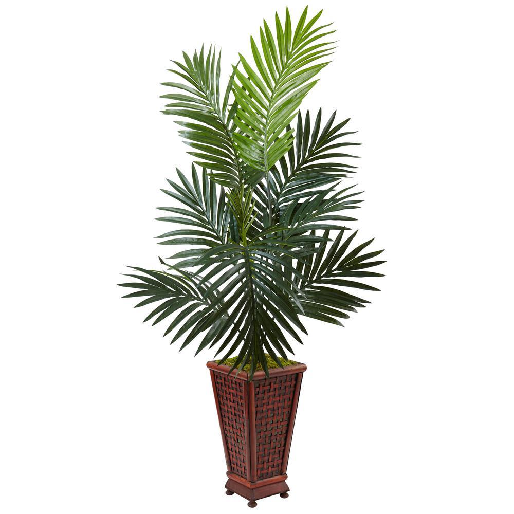 Indoor kentia palm artificial tree in decorative wood planter