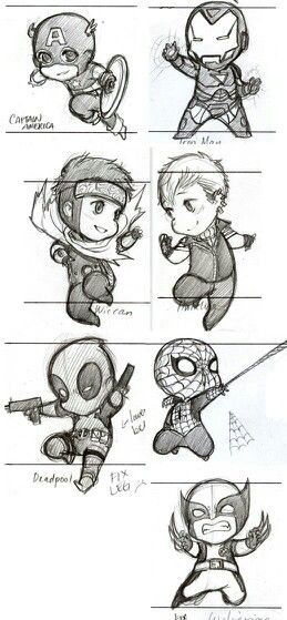 Captain america ironman wiccan hulkling deadpool spiderman and wolverine chibi - Comment dessiner captain america ...